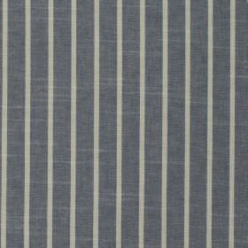 Huntington - Navy - Thin light grey bands alternating with dark blue-grey coloured vertical stripes on fabric made entirely from cotton