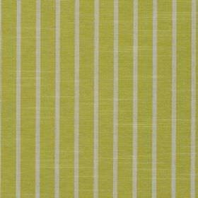Huntington - Sorbet - Lime green coloured fabric made from 100% cotton printed with narrow light grey vertical stripes at regular intervals