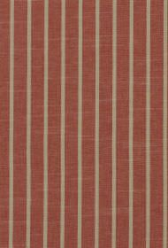 Huntington - Strawberry - Narrow warm beige coloured stripes printed at regular intervals on a brick red coloured 100% cotton fabric backgro