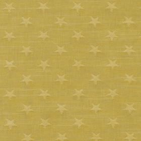 Newport - Sea Foam - A background of golden green coloured 100% cotton fabric behind a design of rows of small, regular stars in gold