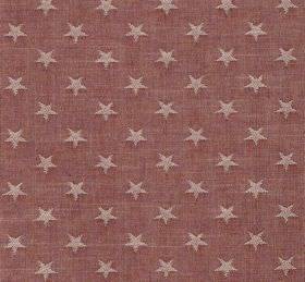Newport - Strawberry - Stars in a very pale shade of pink printed on fabric made from dusky red coloured cotton