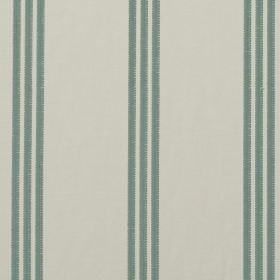 Marley - Duckegg - 100% cotton fabric in very pale grey, patterned with sets of teal coloured vertical stripes arranged in groups of three