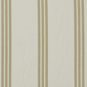 Marley - Taupe - Pale olive green stripes printed in sets of three on fabric made from ivory coloured 100% cotton