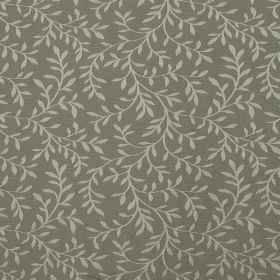 Oldbury - Grey - A design of simple pale grey leaves and vines patterning fabric made from dark grey coloured cotton and polyester