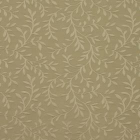 Oldbury - Taupe - Gold coloured leaves and vines creating a simple design against a background of gold fabric made from cotton and polyester
