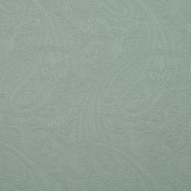 Saltram - Duckegg - Cotton and polyester blend fabric made in a plain dusky blue colour, covered with a large, subtle paisley print pattern