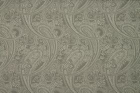 Saltram - Grey - A large, very intricate repeated paisley print pattern covering fabric made from cotton and polyester in shades of grey