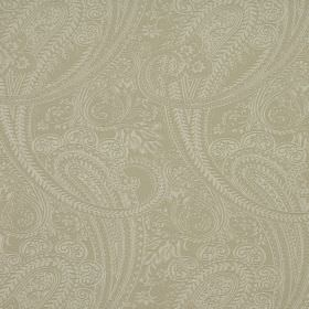 Saltram - Linen - Paisley patterned cotton-polyester blend fabric featuring an intricate cream coloured design on a grey-beige background