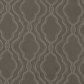 Stembridge - Amethyst - Patterned, curving cream coloured lines overlapping on a very dark grey coloured 100% cotton fabric background