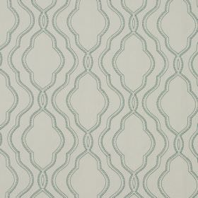 Stembridge - Duckegg - Very pale grey coloured 100% cotton fabric as a background to patterned, overlapping curving lines in a teal colour
