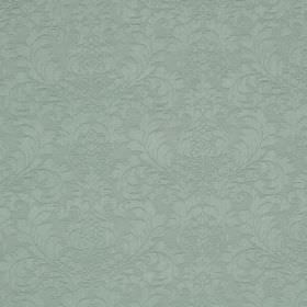 Wandworth - Duckegg - Light, dusky blue coloured fabric made from a combination of cotton and polyester, covered with a leafy floral pattern