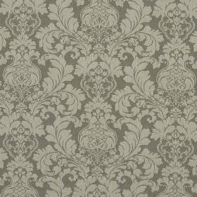 Wandworth - Grey - A large, ornate, repeated leafy pattern printed in light grey against dark grey coloured cotton-polyester blend fabric