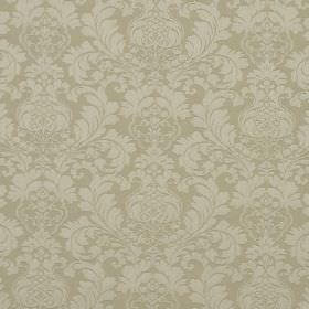 Wandworth - Linen - Very pale grey large, leafy designs repeatedly patterning creamy beige coloured fabric made from cotton and polyester