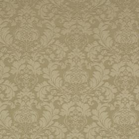 Wandworth - Taupe - Light gold coloured full, leafy patterns printed on a fabric made from cotton and polyester in a darker shade of gold