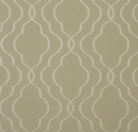 Halwell - Linen - A background of light grey-beige cotton and polyester blend fabric behind a pattern of ivory curving, overlapping lines
