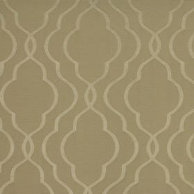 Halwell - Taupe - Cotton-polyester blend fabric in a light brown colour, patterned with overlapping curving lines in a light shade of gold