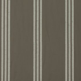 Marley - Amethyst - Trios of thin pale grey bands creating a regular vertical striped pattern on100% cotton fabric in a dark shade of grey
