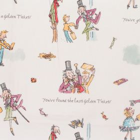 Charlie And The Chocolate Factory - Golden Ticket - Cotton fabric with neutral background with pale multi-coloured figures