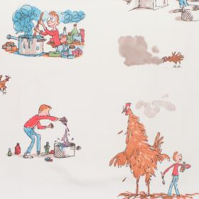 Georges Marvellous Medicine - George - Cotton fabric with white background with nursery characters