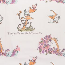 The Giraffe And The Pelly And Me - Giraffe - Cotton fabric with neutral background with nursery-style characters