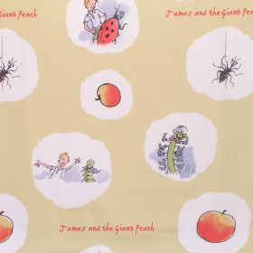James And The Giant Peach - James And Friends - Cotton fabric with light beige background with James and the Giant Peach characters