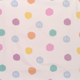 The Bfg - Hopscotchy Spot - Cotton fabric with neutral background with multi-coloured spots