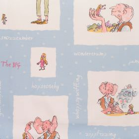 The Bfg - Bfg - Cotton fabric with sky blue background with white squares depicting BFG characters