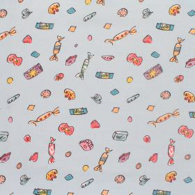 Charlie And The Chocolate Factory - Lickswishy Sweets - Cotton fabric with light blue bacground with multi-coloured sweet-wrappers