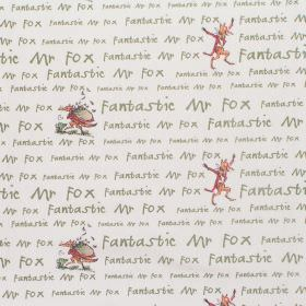 Fantastic Mr Fox - Squibbling - Cotton fabric with neutral background with light grey lettering and small figures