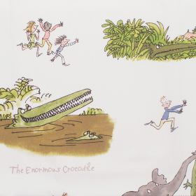 The Enormous Crocodile - Enormous Crocodile - Cotton fabric with neutral background with nursery-style characters