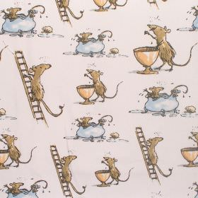The Witches - Quicksy Mice - Cotton fabric with buff background depicting mice