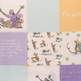 The Witches - Witches Patchwork - Cotton fabric with patchwork pattern depicting nursey-type characters