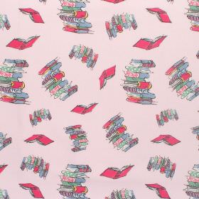 Matilda - Bunk Doodling Books - Cotton fabric with pale pink background with rose and blue characters