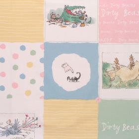 Dirty Beasts - Dirty Beasts Patchwork - Cotton fabric with pastel multi-coloured patchwork