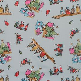 Georges Marvellous Medicine - Diddly Bottles - Cotton fabric with blue background with multi-coloured figures
