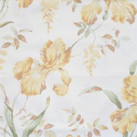 Moresley - Buttercup - White fabric with detailed buttercup yellow floral impression