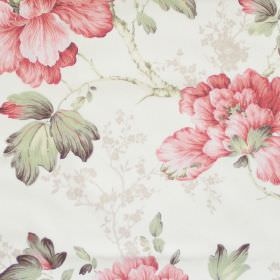 Priorwood - Coral - White fabric with detailed coral red floral impressions
