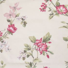 Applebury - Coral - White fabric with detailed coral red floral impressions