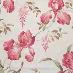 Moresley - Coral - White fabric with detailed coral red floral impressions