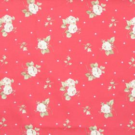 Hartsfield - Coral - Coral red fabric with flowers and dots
