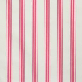 Eltham - Coral - White fabric with coral red stripes