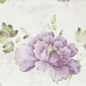 Priorwood - Amethyst - White fabric with detailed amethyst purple floral impression