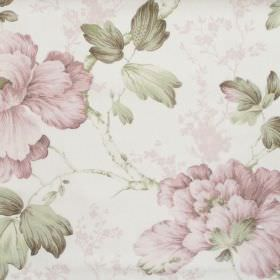 Priorwood - Blush - White fabric with detailed blush pink floral impressions
