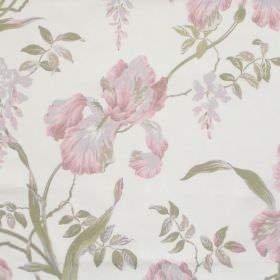 Moresley - Blush - White fabric with detailed blush pink floral impressions