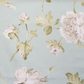 Pemberly - Sky Blue - Sky blue fabric with detailed floral impressions