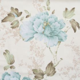 Priorwood - Sky Blue - White fabric with detailed sky blue floral impressions