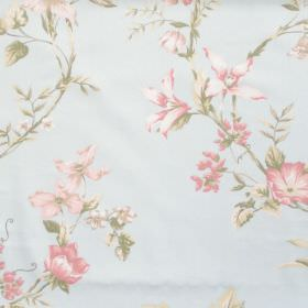 Applebury - Sky Blue - Sky blue fabric with detailed floral impressions
