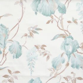 Moresley - Sky Blue - White fabric with detailed sky blue floral impressions