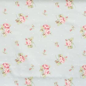 Hartsfield - Sky Blue - Sky blue fabric with flowers and dots
