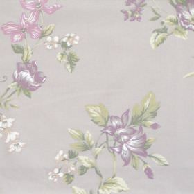 Applebury - Amethyst - Grey fabric with detailed amethyst purple floral impression